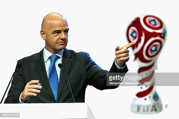 President Gianni Infantino speaks at the welcome banquet for the official draw of FIFA Confederations Cup Russia 2017 at Korston Hotel on November 25...