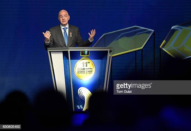 President Gianni Infantino speaks during the 11th Dubai International Sports Conference on December 28 2016 in Dubai United Arab Emirates