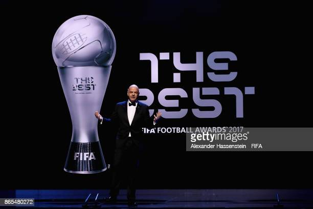 President Gianni Infantino speaks during The Best FIFA Football Awards at The May Fair Hotel on October 23 2017 in London England