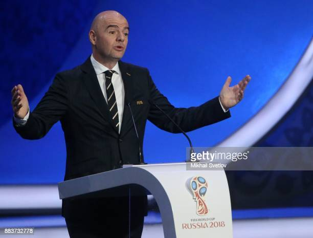 FIFA President Gianni Infantino speaks during the Final Draw of 2018 FIFA World Cup at State Kremlin Palace in Moscow Russia December 1 2017