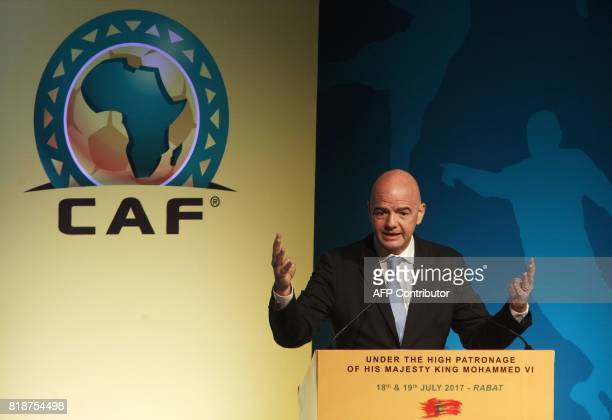 President Gianni Infantino speaks during the first ever African Football Symposium in Skhirat on the outskirts of the Moroccan capital on July 18...