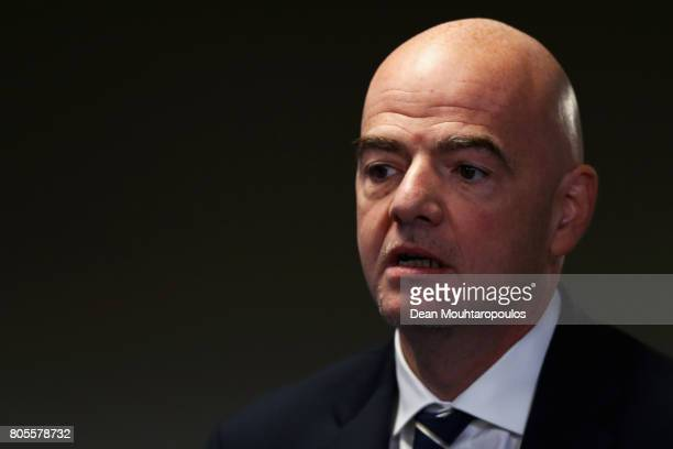 President Gianni Infantino speaks to the media during the Closing Press Conference of the FIFA Confederations Cup Russia 2017 held at the Krestovsky...