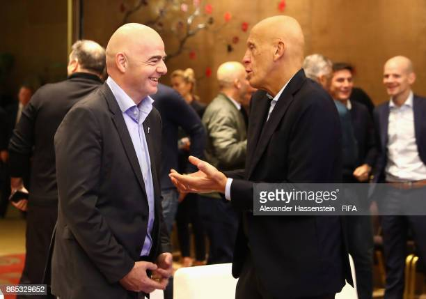 President Gianni Infantino speaks with Pierluigi Collina during the 3rd FIFA Legends Think Tank Meeting prior to The Best FIFA Football Awards at The...