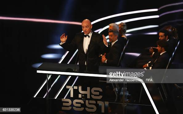 President Gianni Infantino talks prior to The Best FIFA Football Awards at TPC Studio on January 9 2017 in Zurich Switzerland