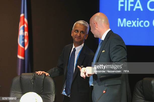 President Gianni Infantino talks to FIFA VicePresident Sunil Gulati prior to the the FIFA Council meeting ahead of the 66th FIFA Congress at...