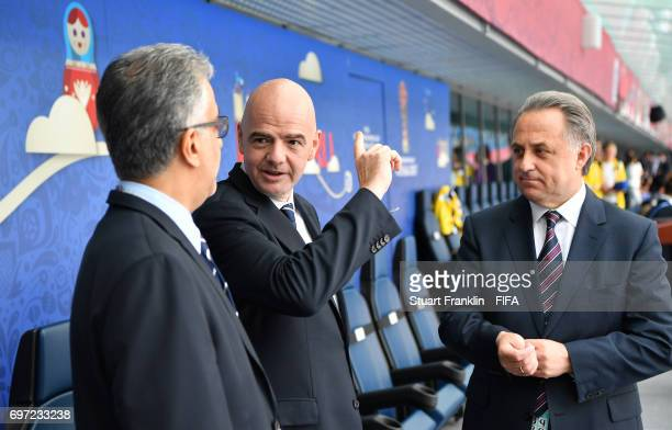 President Gianni Infantino talks with Vitaly Mutkot deputy Prime Minister of Russia at the FIFA Confederations Cup Group A match between Russia and...