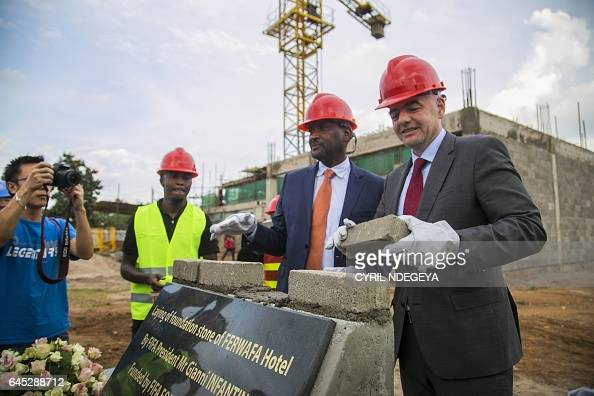President Gianni Infantino together with Rwandese Association Football Federation President Vincent De Gaulle Nzamwita lay the foundation stone at...