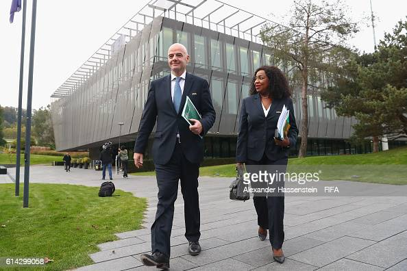President Gianni Infantino walks with FIFA Secretary General Fatma Samoura at the FIFA headquaters after part I of the FIFA Council Meeting 2016 at...