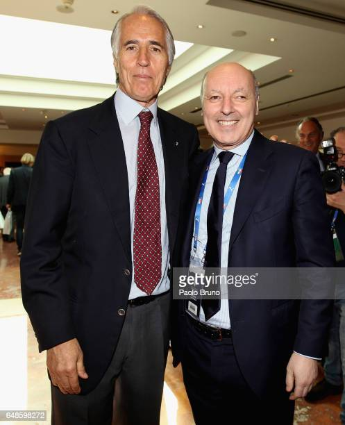 CONI President Giovanni Malago' and Giuseppe Marotta of Juvents attend the Italian Football Federation new president elections on March 6 2017 in...