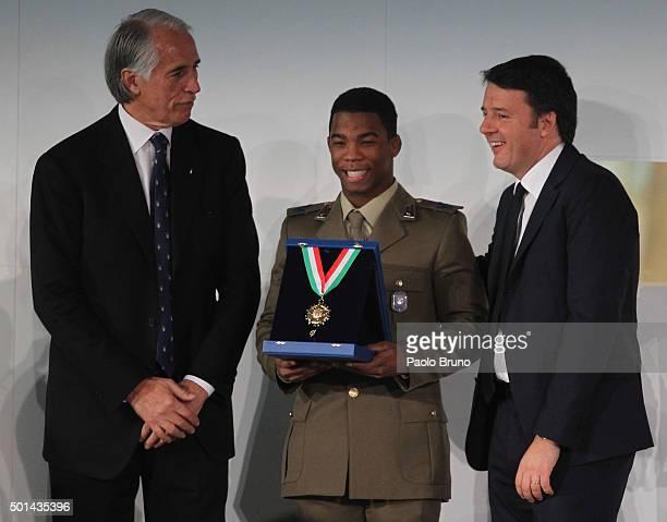 CONI President Giovanni Malago' Frank Chamizo Marquez and Italian Prime Minister Matteo Renzi attend the Italian Olympic Commitee 'Collari d'Oro'...