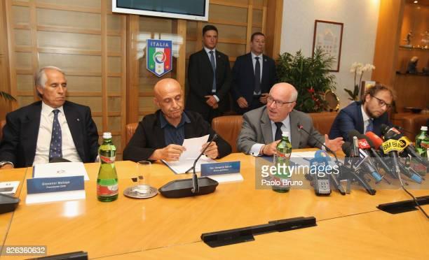 CONI President Giovanni Malago' Italy's Interior Minister Marco Minniti FIGC President Carlo Tavecchio Italian Sport Minister Luca Lotti attend the...
