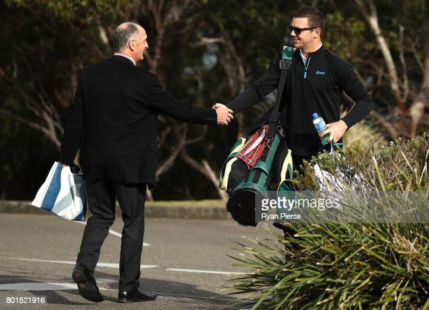 President Greg Dyer shakes hands with Australian Cricketer Josh Hazlewood during the Australian Cricketers' Association Golf Day at New South Wales...