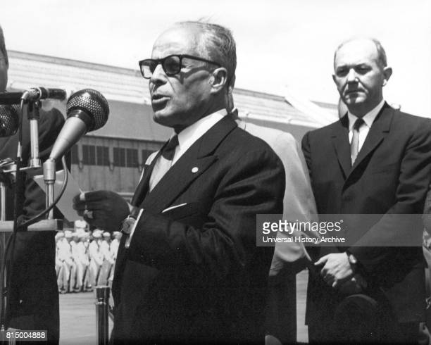 President Habib Bourguiba of Tunisia arrives in Washington DC and is met by Dean Rusk US Secretary of state