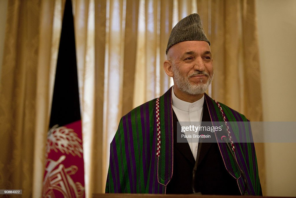 President <a gi-track='captionPersonalityLinkClicked' href=/galleries/search?phrase=Hamid+Karzai&family=editorial&specificpeople=121540 ng-click='$event.stopPropagation()'>Hamid Karzai</a> speaks to the media for the first time since full preliminary results were announced at the Presidential palace on September 17, 2009 in Kabul, Afghanistan. Immediately after the President delivered his election message to the international media, Italian soldiers, who have stationed 2,800 soldiers in the region, suffered their deadliest attack in Afghanistan to date. Six Italian soldiers and ten Afghans were killed, including 55 wounded as the blast hit in a mostly residential area of the city. While Karzai stated today that some government officials were biased toward him in the election, he defended himself and the integrity of the vote against all the allegations of fraud and ballot box stuffing. Presently Karzai has 54.6 percent of the vote, well ahead of his leading challenger, Abdullah Abdullah. The ongoing recounts and fraud investigations by the Election Complaints commission (ECC), however, could drive Karzai's total below the crucial 50 percent, forcing a runoff election.