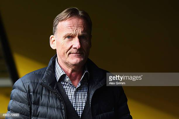 President HansJoachim Watzke of Dortmund looks on prior to the Bundesliga match between Borussia Dortmund and SV Darmstadt 98 at Signal Iduna Park on...