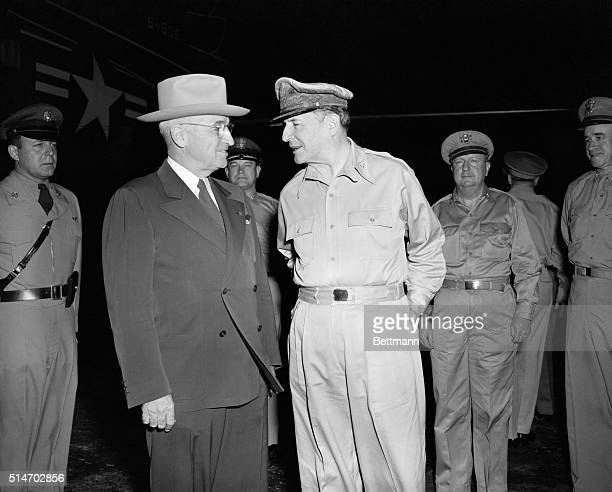 Truman and MacArthur meet for the first time on Wake Island October 15 when the President asked the General whether there was a chance the Chinese or...