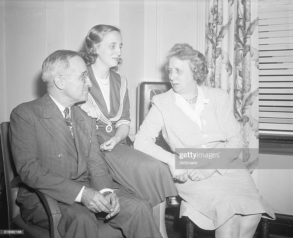 U.S. President Harry S. Truman sitting with his daughter Margaret and his wife, First Lady Elizabeth 'Bess' Truman.