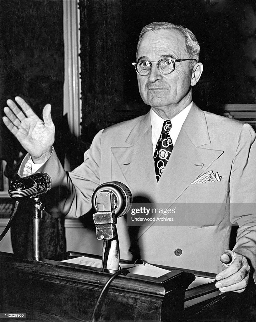 President <a gi-track='captionPersonalityLinkClicked' href=/galleries/search?phrase=Harry+Truman&family=editorial&specificpeople=91039 ng-click='$event.stopPropagation()'>Harry Truman</a> concluding a press conference about the ongoing railroad strike, declaring that if the workers were not back on the job the next day, he would call upon the armed forces to help run the railroad and protect the strike breakers, Washington DC, May 24, 1946.