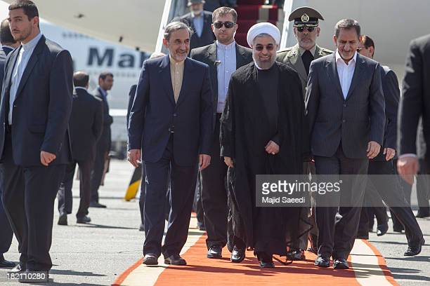 President Hassan Rouhani of Iran Ali Akbar Velayati advisor to the Islamic republic's supreme leader Ayatollah Ali Khamenei and Eshaq Jahangiri the...