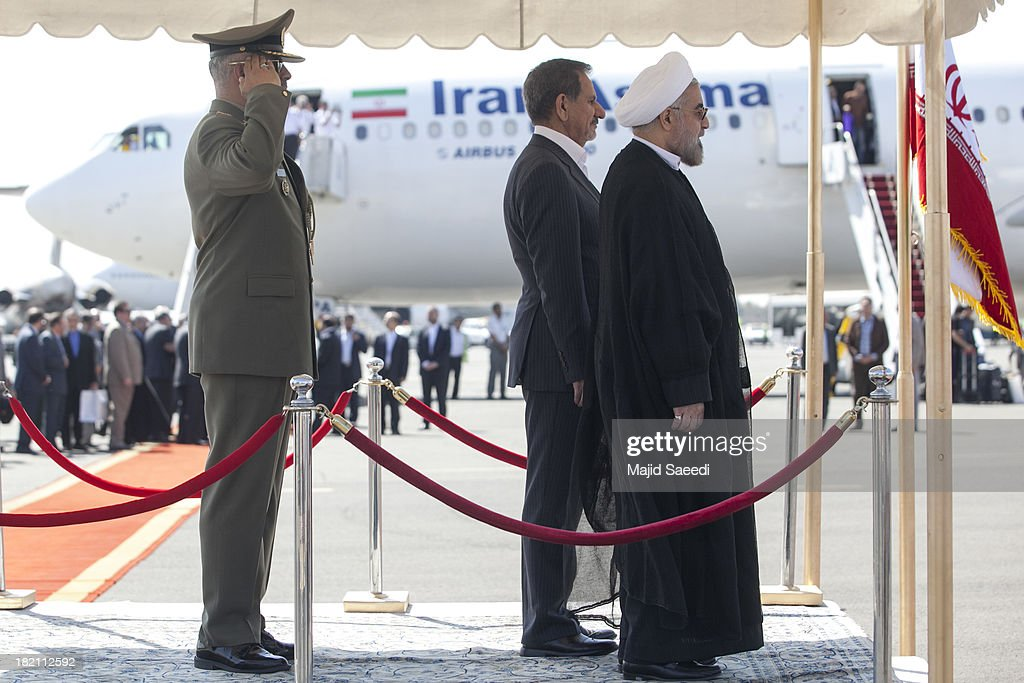 President Hassan Rouhani of Iran and Esaqhi Jahangiri, the First Vice President stands next to him during rouhani's arrival at Mehrabad Airport on September 28, 2013 in Tehran, Iran. Hardline Islamists gathered outside the airport to chant ''Death to America'' and ''Death to Israel'' but they were outnumbered by supporters of President Rouhani who shouted 'Thank you Rouhani.' Iranian newspapers hailed the first contact between presidents Rouhani and Obama but warned that Israel would seek to impede the historic opening to Washington.
