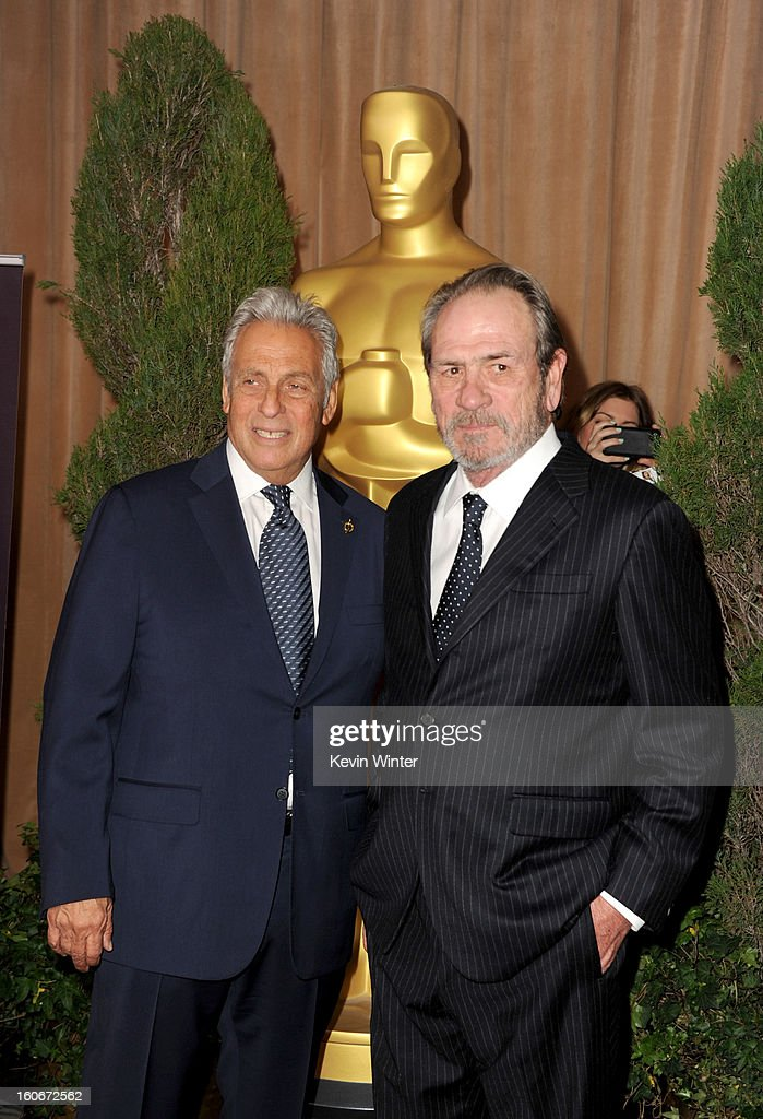 President Hawk Koch (L) and actor Tommy Lee Jones attend the 85th Academy Awards Nominations Luncheon at The Beverly Hilton Hotel on February 4, 2013 in Beverly Hills, California.