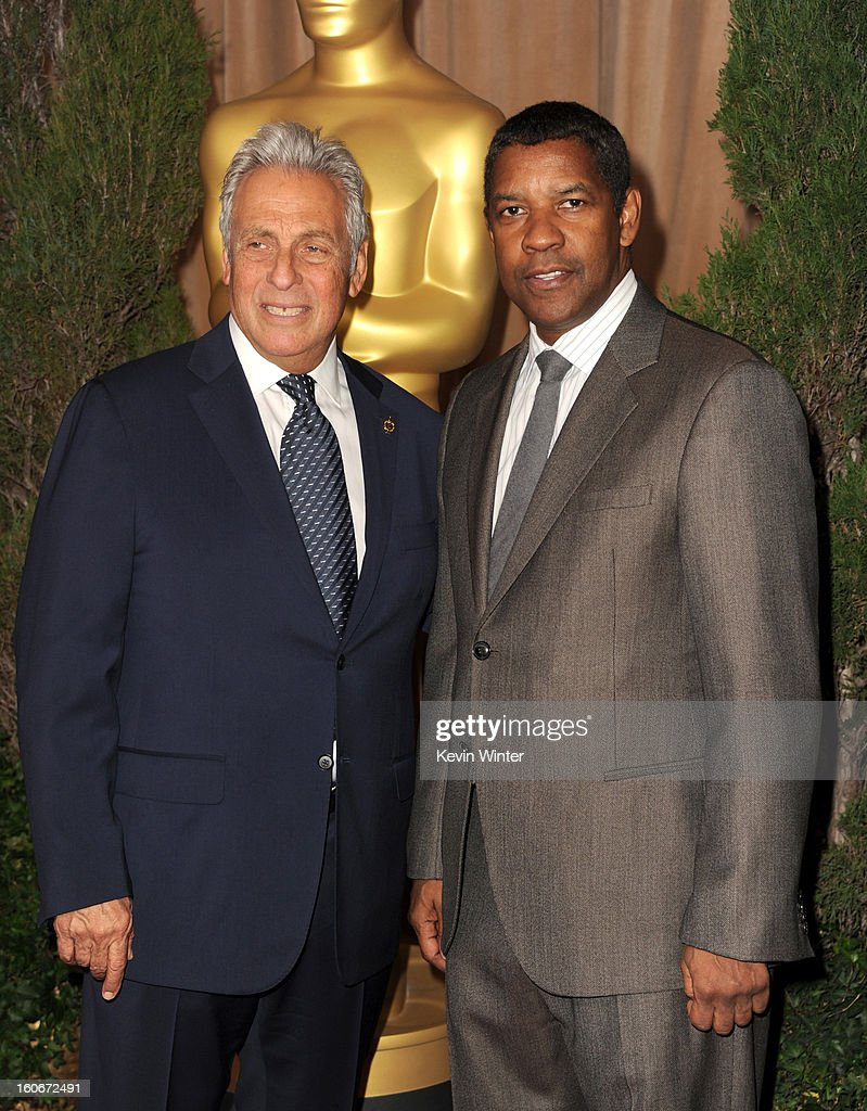 President Hawk Koch (L) and Denzel Washington attend the 85th Academy Awards Nominations Luncheon at The Beverly Hilton Hotel on February 4, 2013 in Beverly Hills, California.