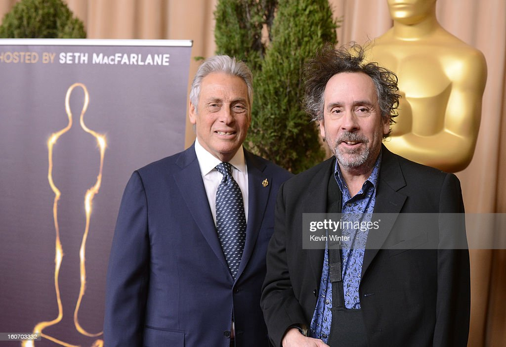 President Hawk Koch (L) and director Tim Burton attend the 85th Academy Awards Nominations Luncheon at The Beverly Hilton Hotel on February 4, 2013 in Beverly Hills, California.