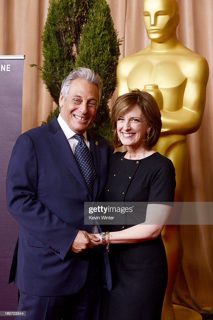 President Hawk Koch (L) and Disney Media Networks Co-Chair Anne Sweeney attend the 85th Academy Awards Nominations Luncheon at The Beverly Hilton Hotel on February 4, 2013 in Beverly Hills, California.