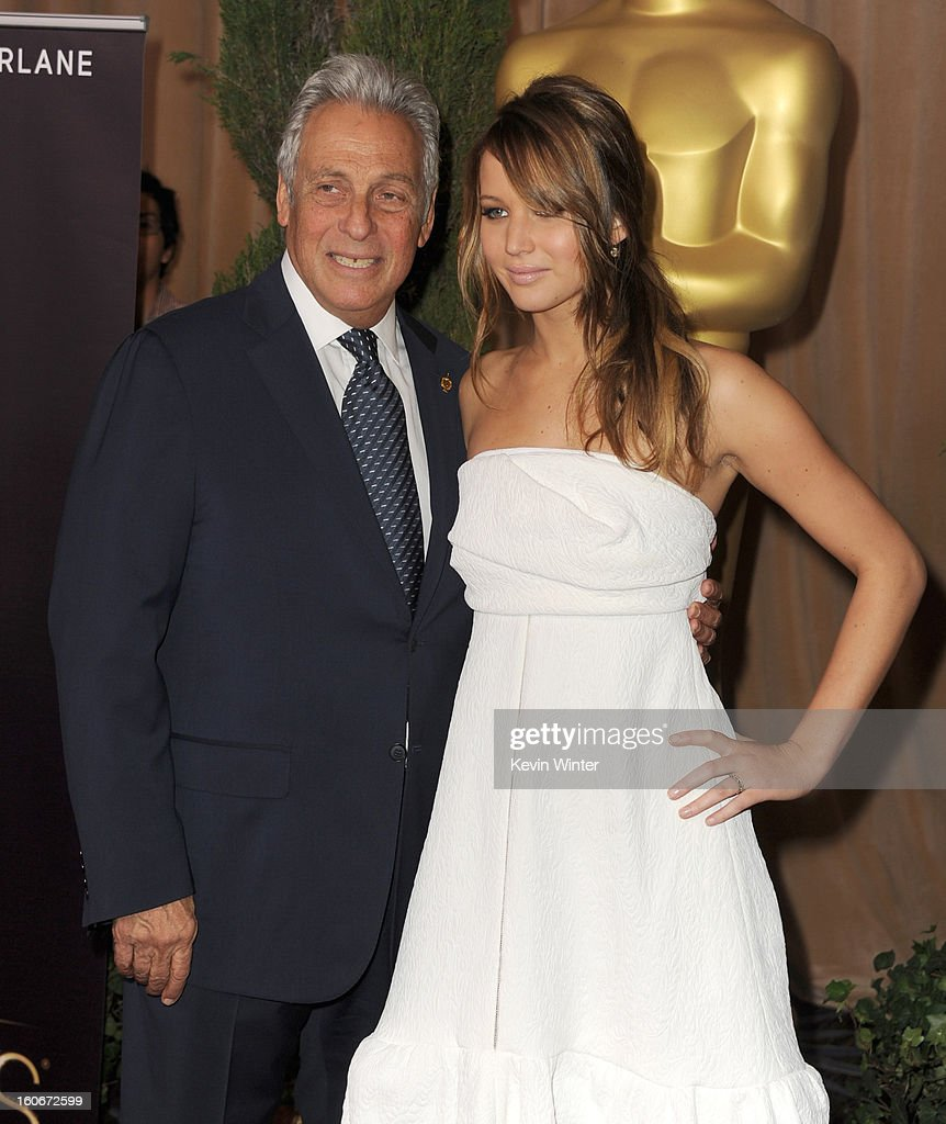 President Hawk Koch (L) and Jennifer Lawrence attend the 85th Academy Awards Nominations Luncheon at The Beverly Hilton Hotel on February 4, 2013 in Beverly Hills, California.