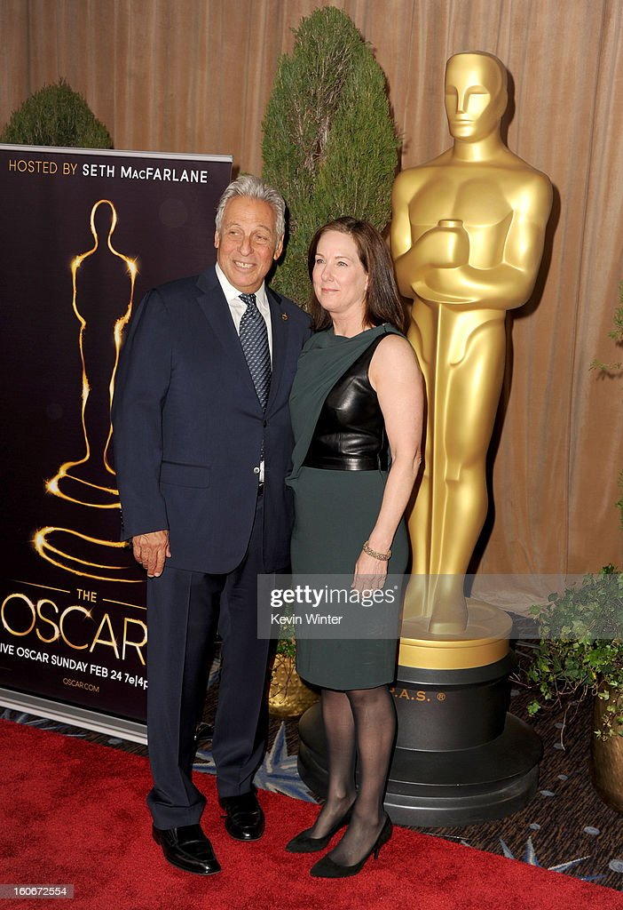President Hawk Koch (L) and Producer Kathleen Kennedy attend the 85th Academy Awards Nominations Luncheon at The Beverly Hilton Hotel on February 4, 2013 in Beverly Hills, California.