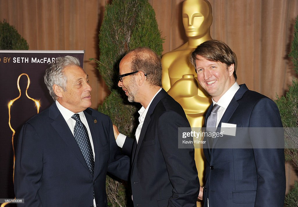 President Hawk Koch, Producer Eric Fellner and Director Tom Hooper attend the 85th Academy Awards Nominations Luncheon at The Beverly Hilton Hotel on February 4, 2013 in Beverly Hills, California.