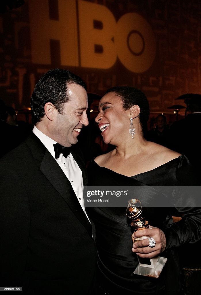 President, HBO Films Collin Callender and actress S. Epatha Merkerson arrive at the HBO Golden Globe after party held at the Beverly Hilton on January 16, 2006 in Beverly Hills, California.