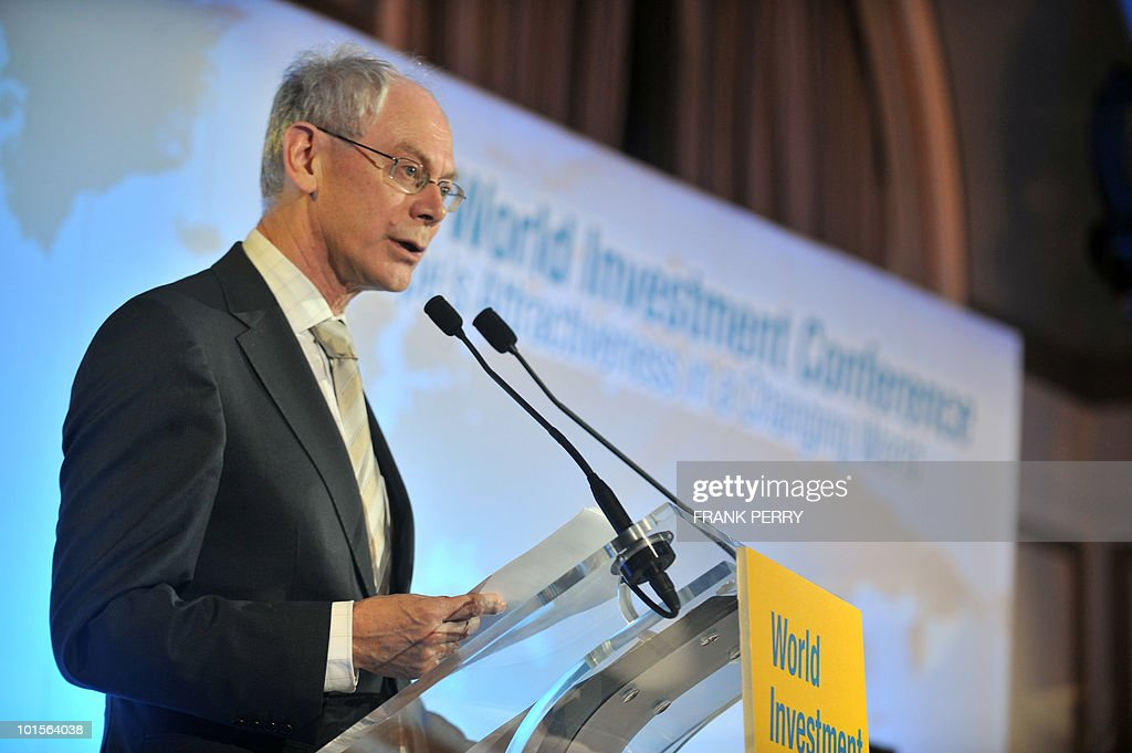 EU president Herman Van Rompuy delivers a speech on June 2, 2010 during the opening ceremony of the 8th World Investment Conference (WIC) in the French western city of La Baule. Europe set out plans today to curb US-based credit rating giants and impose new rules on finance companies so as to rein in risky trading.