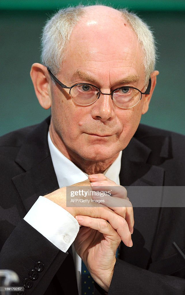 EU President Herman Van Rompuy holds a joint press conference with Irish President Enda Kenny and Irish Minister for Foreign Affairs and Trade Eamon Gilmore (unseen) in Dublin, Ireland, on January 9, 2012 as Ireland begin its six-month presidency of the European Union.