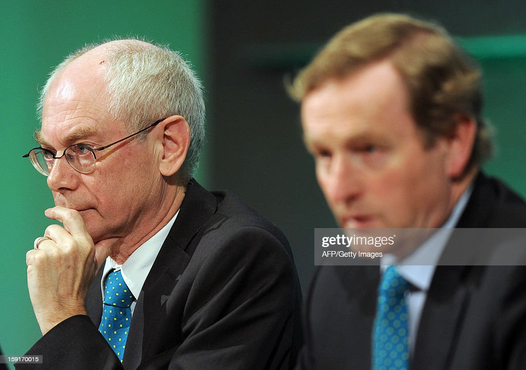 EU President Herman Van Rompuy (L), Irish President Enda Kenny (R) and Irish Minister for Foreign Affairs and Trade, Eamon Gilmore (unseen), hold a press conference in Dublin, Ireland, on January 9, 2012 as Ireland begin its six-month presidency of the European Union.