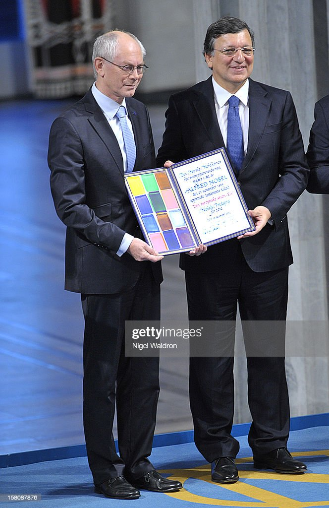 EU President Herman Van Rompuy of Belgium and European Commission President Jose Manuel Barroso of Portugal accepts the Nobel Peace Prize award on behalf of the European Union at Oslo City Hall on December 10, 2012 in Oslo, Norway.
