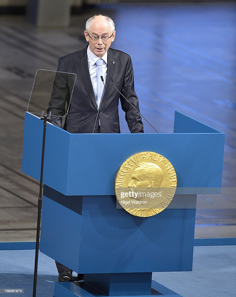 EU President Herman Van Rompuy of Belgium delivers the acceptance speech to the audience during the Nobel Peace Prize Award Ceremony at Oslo City Hall on December 10, 2012 in Oslo, Norway.