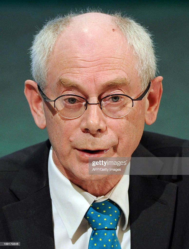 EU President Herman Van Rompuy speaks during a joint press conference with Irish President Enda Kenny and Irish Minister for Foreign Affairs and Trade Eamon Gilmore (unseen) in Dublin, Ireland, on January 9, 2012 as Ireland begin its six-month presidency of the European Union.