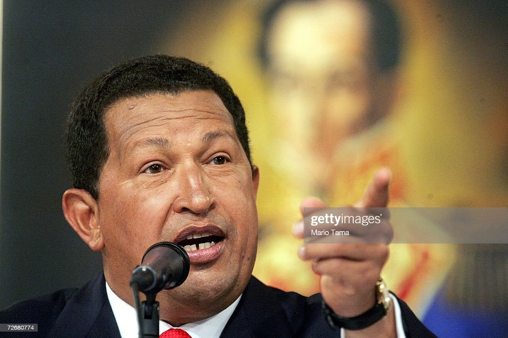 President Hugo Chavez speaks at a press conference in Miraflores Palace November 30, 2006 in Caracas, Venezuela. Chavez faces off against challenger Manuel Rosales in the presidential election December 3.