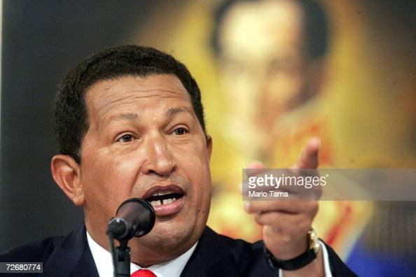 President Hugo Chavez speaks at a press conference in Miraflores Palace November 30 2006 in Caracas Venezuela Chavez faces off against challenger...