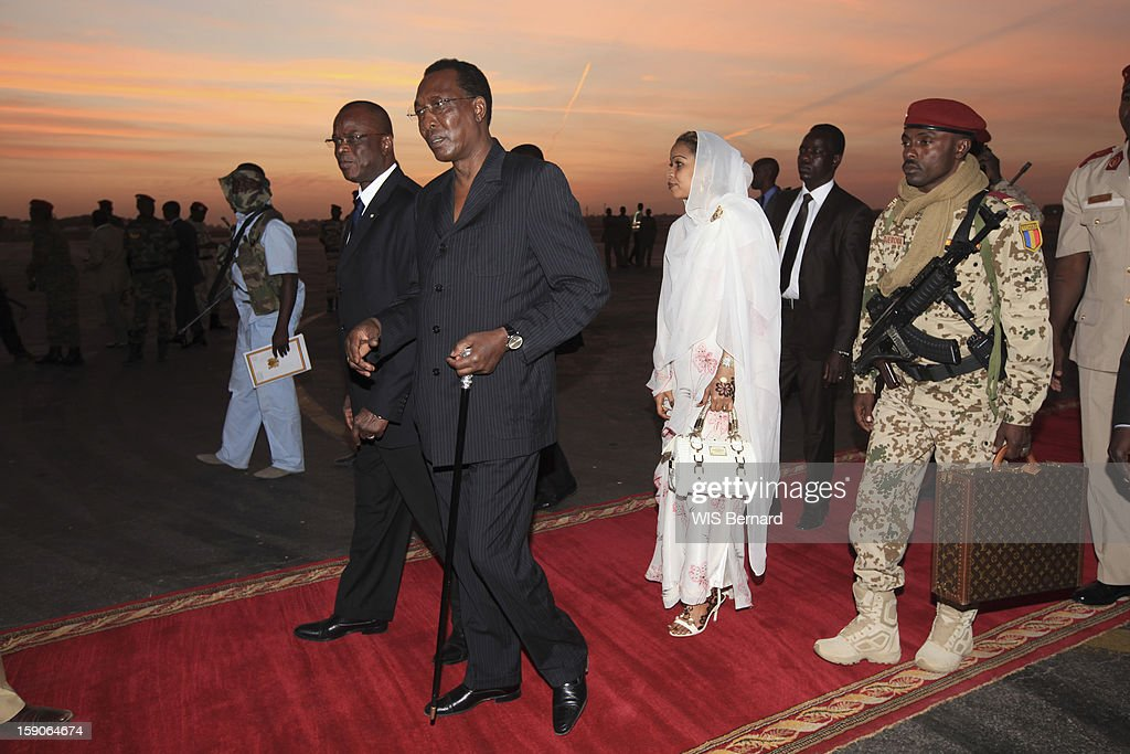 President Idriss Deby and his wife Hinda Deby on December 20, 2012 in Biltine, Chad.