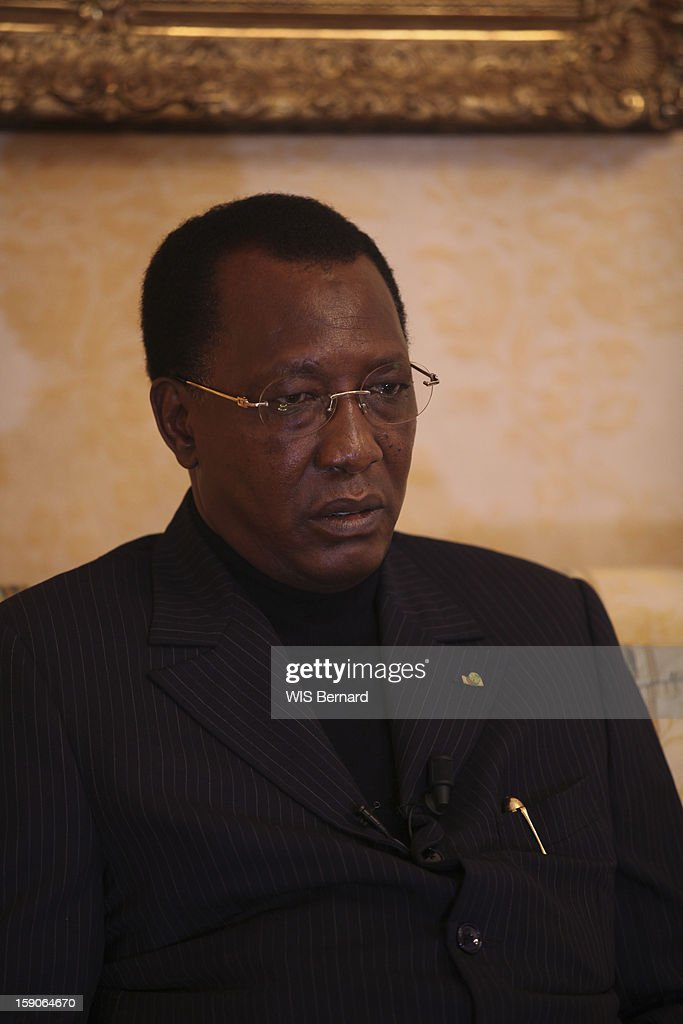 President Idriss Deby is interviewed on December 08, 2012 in Paris, France.