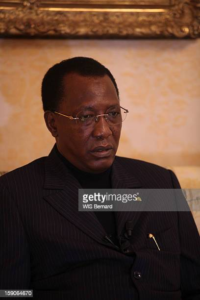 President Idriss Deby is interviewed on December 08 2012 in Paris France
