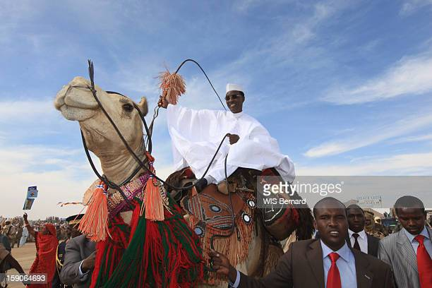 President Idriss Deby rides a Camel on December 19 2012 in Biltine Chad