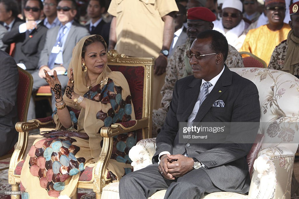 President Idriss Deby with his wife Hinda Deby sit on thrones on December 20, 2012 in Biltine, Chad.