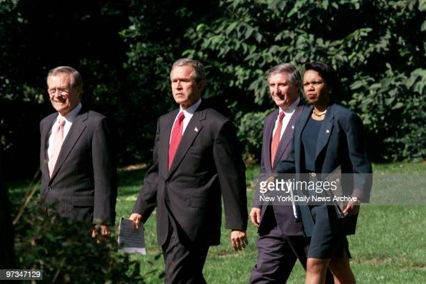President is joined by Defense Secretary Donald Rumsfeld White House Chief of Staff Andrew Card and National Security Advisor Condoleezza Rice as...