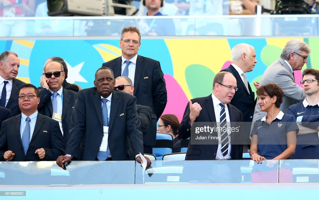 CAF President Issa Hayatou Prince Albert of Monaco speaks to French Minister for Women's Rights Cities Sports and Youth Najat VallaudBelkacem as FIFA...
