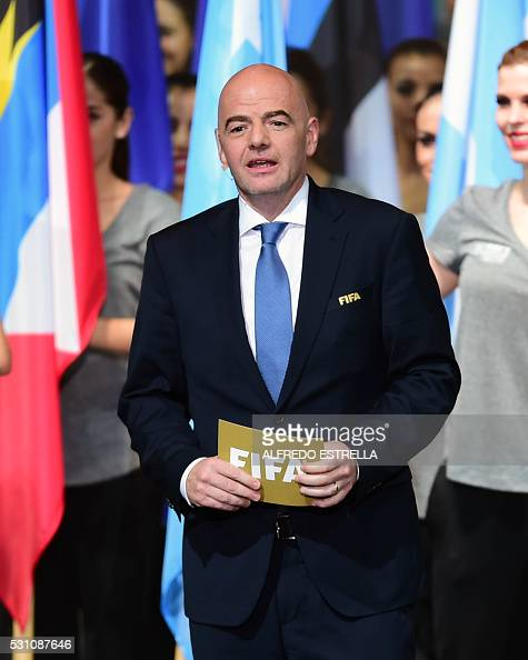 FIFA president Italian Gianni Infantino speaks during the opening ceremony of the 66th FIFA Congress be held from May 12 to 13 at the Auditorio...