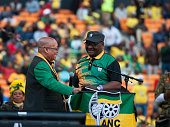 President Jacob Zuma and ANC Gauteng deputy chairperson David Makhura on stage during the Gauteng ANC manifesto launch at FNB Stadium on June 04 2016...