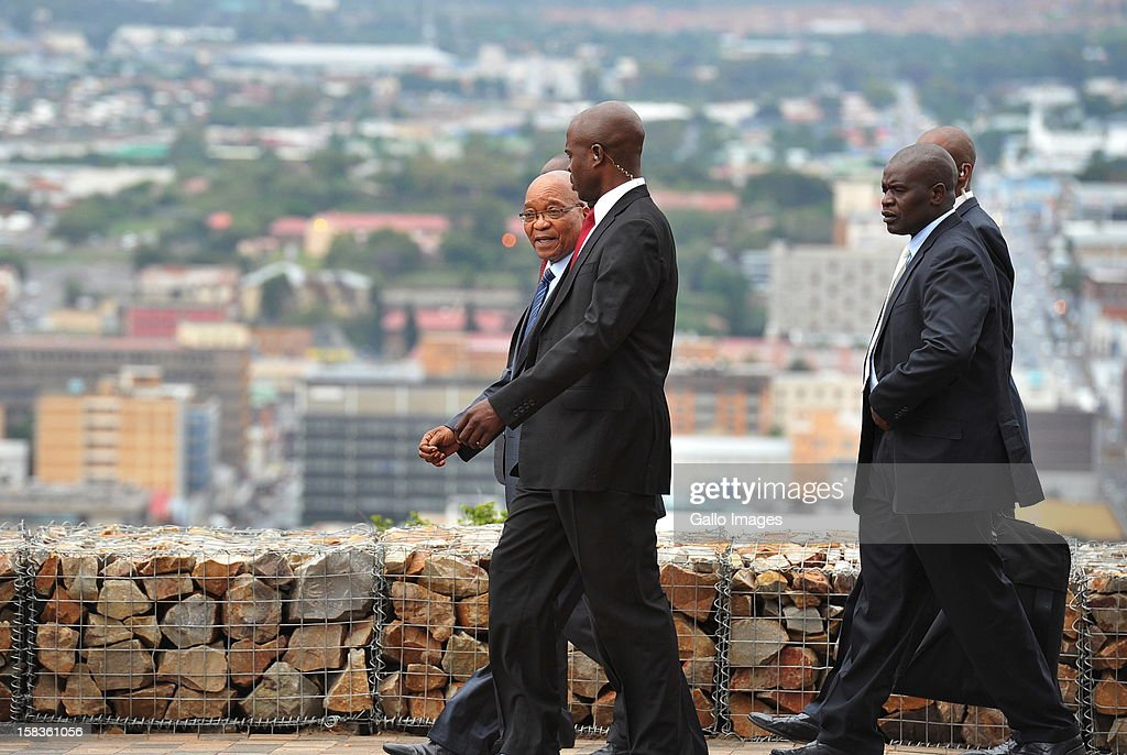 President Jacob Zuma and government officials at Naval Hill on December 13, 2012, in Bloemfontein, South Africa.